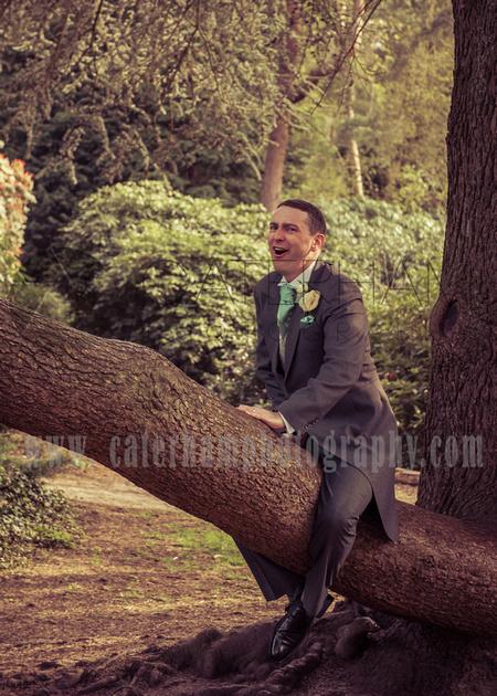surrey wedding photographer, fund wedding photos groom in tree