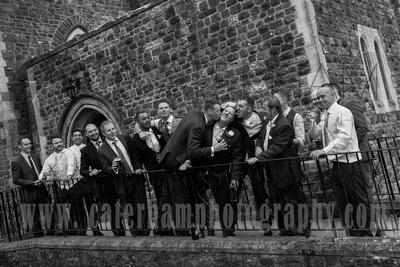Surrey Wedding Photographer / Wedding in Caterham / Boys group photograph / Wedding fun photos / Black and white wedding photography