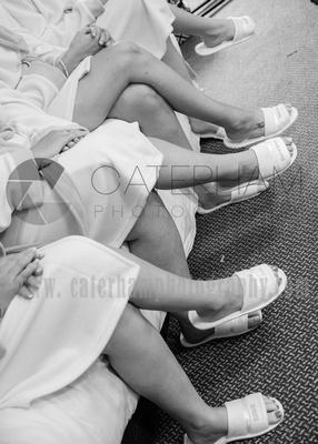 Surrey wedding photographer /Legacy Thatchers Hotel Wedding slippers in a row
