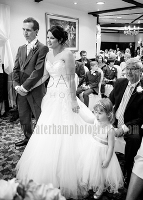Surrey wedding photographer /Legacy Thatchers Hotel Weddings together at the front