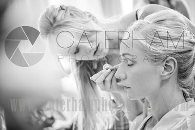 Surrey wedding photographer- Bridal Preparation- bride getting makeup done
