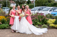Surrey wedding photographer / reigate baptist church (9) / The bride with the bridesmaids / Beautiful girls at wedding