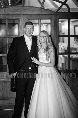 Surrey Wedding Photographer- Wedding Venue Mulberry House Weddings- beautiful Bride and groom stood in wedding Venue