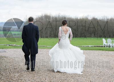 Surrey Wedding Photographer- Wedding ceremony Chiddingston Castle- Bride and groom at wedding vennue