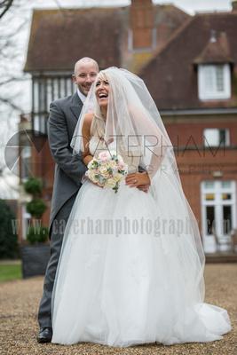Surrey wedding photographers- Woodland Park Hotel surrey- Bride and Groom outside their stunning venue