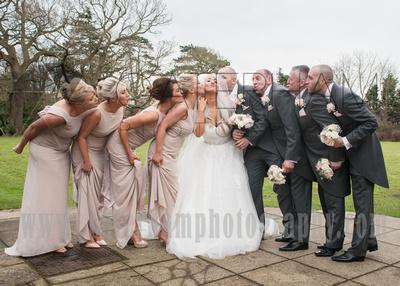 Surrey wedding photographers- Woodland Park Hotel surrey- Bridal Party Stood Outside wedding venue
