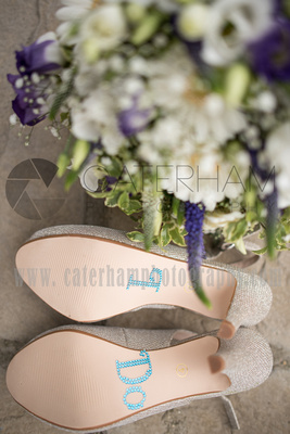 Surrey wedding photographer Hartsfield Manor   Wedding bridal shoes and wedding bouquet
