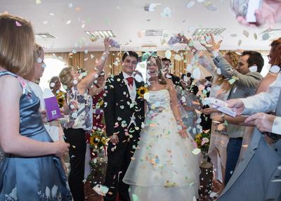 Surrey Wedding Photography, Hilton Cobham Weddings, Family Celebrations, Confetti