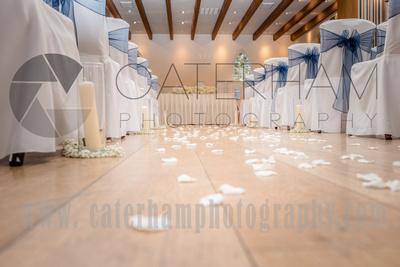 Surrey Wedding Photographer- Wedding Venue Mulberry House Weddings- Beautiful Wedding Aisle at wedding reception