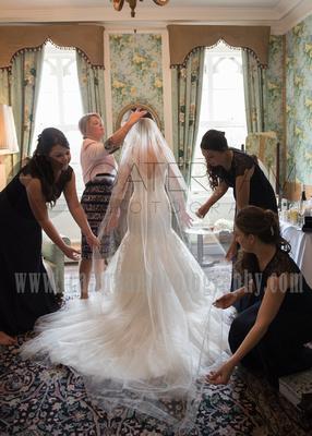 Surrey Wedding Photographer- Chiddingstone Castle-  Bride getting ready