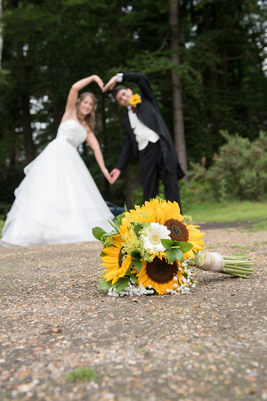 Surrey Wedding Photographer, Hilton Cobham Weddings, Posing Bride and Groom, Flowers
