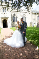 Bride and Groom outside Church, St Mary the Virgin, Surrey Wedding Photographer, Wedding Photography