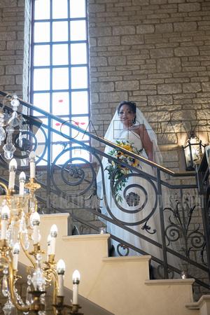 Beautiful Bride, Ornate Staircase, Pennyhill Park, Surrey Wedding Photographer, Hotel Wedding Photographer, Wedding Photography