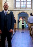 Surrey Wedding Photographer- selsdon park hotel- groom waiting at aisle for bride