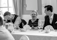 Surrey Wedding Photography - Woldingham Golf Club- guests at top table black and white