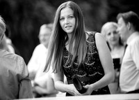 Surrey Wedding Photography - Woldingham Golf Club- wedding guests together outside black and white
