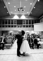 Surrey wedding photographer- St Paul's Church Addlestone- first kiss as married couple