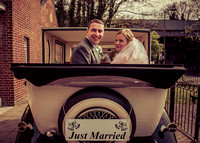 surrey wedding photographer vintage wedding / just married couple in the wedding car