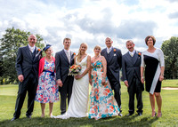 Surrey wedding photography / Tyrrells Wood Golf Club Wedding / Groom and bride with their families / Wedding family photos