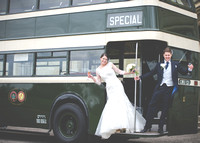 Surrey Wedding Photographer-Chiddingstone Castle- Bride and groom on bus