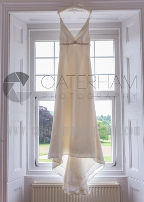 Surrey wedding photographer- Bridal Preparation - beautiful wedding dress