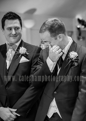 Surrey Wedding Photographer-  weald of kent golf club weddings, groom becoming emotional on the big day