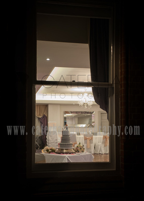 Surrey wedding photographers- Woodland Park Hotel surrey- Looking through a window at the cake