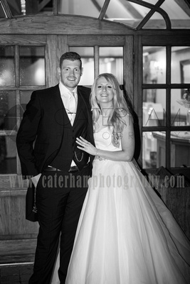Surrey Wedding Photographer- Wedding Venue Mulberry House Weddings- beautiful Bride and groom stood in wedding Venue