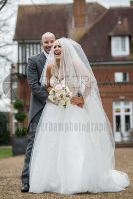 Surrey wedding photographers- Woodland Park Hotel surrey- Bride and Groom outside their stunning venue