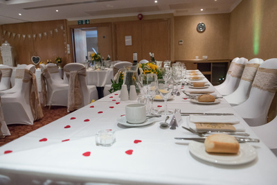 Surrey Wedding Photographer, Hilton Cobham Weddings, Table Decorations, Wine Glasses