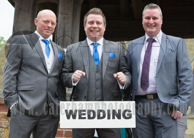 Surrey Wedding Photographer- St Nicholas Church Godstone- Best man and groom at Wedding Venue
