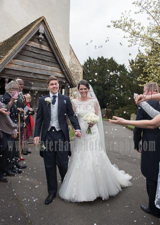 st bartholomew's church wedding otford-Wedding ceremony - bride & groom confetti