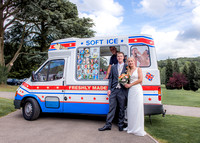 Surrey Wedding Photography / Tyrrells Wood Golf Club Wedding / The wedding couple with the ice-cream van