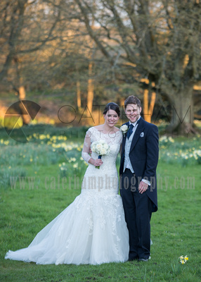 Surrey Wedding Photographer- Wedding ceremony Chiddingston Castle- Bride and groom Stood together