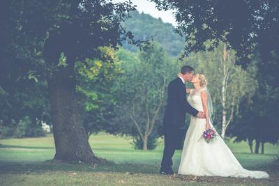 Surrey Wedding Photographer - beautiful, contemporary wedding photographs - Bride & Groom portrait at Wedding venue Croham Hurst