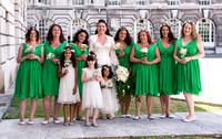 surrey wedding photographer- kingston county hall- bridal party outside