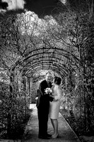 Surrey wedding photographer- leatherhead register office-groom and bride in archway