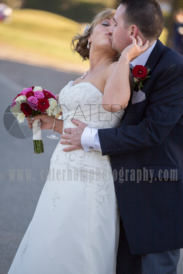 Romantice wedding -Surrey wedding photographer/ Groom and Bride romantic kiss