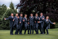 Surrey wedding photographer / Tyrrells Wood Golf Club Wedding / Men group photo / Groom with his best-mans